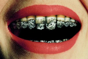 Smoking can ruin your teeth.